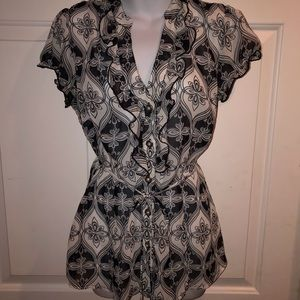 Maurices Sheer Patterned Blouse Size Med